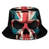 Sombrero de Pescador con Calavera de Bandera británica Sombreros de Copa Transpirables de Tapa Plana Sombrero de Sol de Moda Unisex Verano