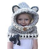 Locisne Capucha cálida de invierno Bufanda Gorras Sombrero Coif Orejera Chales de lana tejida Cubierta de la cara Pasamontañas para bebés Niños Niñas Niños
