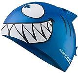 Aqua Speed Shark Gorro de natación + Toalla de Microfibra | niños | Gorras de baño Divertidos| tiburón | Silicona | Tiburón/Azul /01