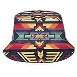 Sombrero de Pescador Navajo Azteca Nativo del sudoeste Nativo Sombreros de Copa Transpirables de Tapa Plana Sombrero de Sol de Moda Unisex Verano