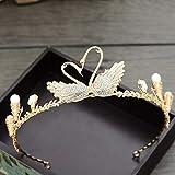 ZJ-Crown Corona Nupcial Cisne de Oro Tocado de Diamantes de imitación Gorros de Boda Accesorios de Boda Correas Coronas Accesorios para el Cabello
