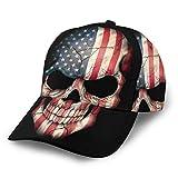 Gorra de béisbol con Bandera Estadounidense y Calavera, Gorras de béisbol de Estados Unidos, Unisex, con Visera Plana, Sombrero de Hip Hop, Color Negro