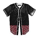 Raylans Camisa de béisbol casual para hombre con estampado floral 3D, de manga corta, con botones, Hombre, BRT-MC011-Color1-XL, Color1, UK L(Tag XL)