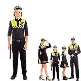 Disfraz Policía Local Niño Uniforme con Gorra Checkers【Tallas Infantiles de 3 a 12 años】[10-12 años] Disfraz Carnaval Niño Profesiones Uniforme con Gorra Policía Desfiles Teatro Actuaciones Regalo