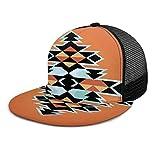 NA Gorra de béisbol Tribal Traditional s Primitive Orange Plaid Gorras de béisbol planas Strapback ajustable