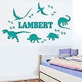 Nombre personalizable dinosaurio pegatina de pared niños habitación de bebé decoración de jardín de infantes vinilo decoración de la pared papel pintado del hogar mapa del mundo juego de regalo 95