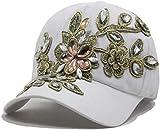 HANJINYU Gorra De Béisbol,Gorra De Béisbol De Moda Única para Niñas Gorras Snapback para Mujer Casquette Diamonds Bone Gorras Flower Lady Cap Hat-White