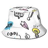 NoneBrand Sombrero de pescador unisex con patrón de frases y formas pastel, parte superior plana, transpirable, sombrero de playa
