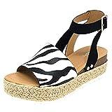 YWLINK Mujeres Sandalias,Europa Y America De Gran TamañO Leopardo,PatróN De Cebra De Gamuza Sandalias De Plataforma Correa De Hebilla Zapatos De Playa Viajes Aire Libre Zapatos Romanos(Negro,40EU)