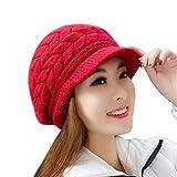 QS_Go Sombreros de Mujer Invierno Sombrero de Punto Sombreros de Moda Gorras para Mujer Sombreros de Invierno Calentar Sombreros Gorras Gorro de Invierno Tipo Otoño e Invierno Tendencia (Rojo)
