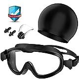 Gafas de Natación, Profesional Anti Niebla Sin Fugas Protección UV Marco grande Gafas para Nadar con Libre Clip de Nariz Enchufe de oído Gorro de baño para Hombres Mujeres Adultos Niños de la Juventud