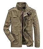 Hombres chaqueta Primavera otoño e invierno Algodón Militar Chaqueta (Large=Tag 2XL /Ches 120cm, Caqui)