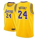WOLFIRE SC Camiseta de Baloncesto para Hombre, NBA, Los Angeles Lakers #8#24 Kobe Bryant. Bordado Swingman Transpirable y Resistente al Desgaste Camiseta para Fan (Amarilla, L)