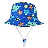 Happy Cherry - Gorro de Sol para Niños Niñas Verano Sombrero de Pescador con ala de Algodón Transpirable Lindo de Cartoon - Ballena - 54CM/5-8Años