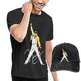 Thimd Camiseta de Manga Corta para Hombre,Gorra de béisbol Combinación Negro Freddie Mercury T Shirts and Washed Denim Baseball Dad Hat Black