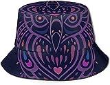 Sombrero de Pescador Unisex con Tapa Plana de búho Decorativo Gorros al Aire Libre para Viajes Playa Protección Solar Elementos de Gorra de Pescador Sombrero de Cubo de Cocina y Cocina Sombrero de PE