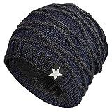 Hombres Cozy Invierno Gorra de Punto tartán Beanie Universal Cálido de Punto de esquí Beanie Hat cráneo Slouchy Gorra Sombrero (Azul Marino)