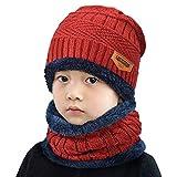 Yuson Girl Conjunto de Bufanda y Gorro de Punto para niños Forro Polar de Lana Beanie Hat Sombrero Cuello Caliente (Rojo)