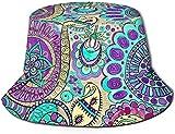 Sombrero de Pescador Unisex con Parte Superior Plana Floral Multicolor Gorras al Aire Libre para Viajes Playa Protección Solar Gorra de Pescador Elementos Ornamentales.Sombrero de Pescador Adornado