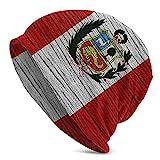 DHGFH Gorro de Punto Peru Wooden Texture Peruvian Flag Winter Ski Warm Beanie Knit Hat Knitted Cap for Youth Men Women Adult Spring Fall Winter Costume Black