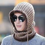 JJZD Gorro de punto grueso de las orejeras de invierno cálido sombrero al aire libre del montar a caballo de punto orejeras babero todo-en-uno caliente gorra de béisbol del casquillo adecuados for hom