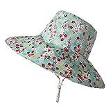 Urhause Sombrero de Sol Niño, Sombrero de Pescador ala Ancha Anti UV Sombrero de Playa Ajustable para Niños Niñas,Azúl