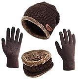 ASYBHYY Gorras Invierno Con Bufanda y Guantes Táctiles Antideslizante 3 en 1 de Punto Sombreros para Mujeres y Hombres, Marrón