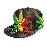 Gorra De Béisbol Reggae Rasta Marihuana Leaf Weed Snapback Sombreros Unisex Trucker Sombrero Hip Hop Plaid Plano Ajustable Gorras De Béisbol Negro