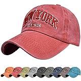 Voqeen Gorra de Beisbol Sombrero de Gorra Ajustable con Bordado New York Gorra de Vintage Algodón de Verano al Aire Libre Cap para Hombres Mujeres (Vino Rojo)