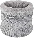 heekpek Calentador de Cuello Bufanda de Tubo Lazo para Hombre y Mujer Multifuncional Grueso y Cálido Bufanda y Gorra para Deportes de Invierno Desgaste de Pareja Fulares (Gris)