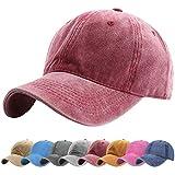 Tuopuda Gorra de Béisbol Classic Unisex Ajustable Washed Teñido Gorras de Béisbol de Algodón Sombrero de Deportes al Aire Libre (Rojo)