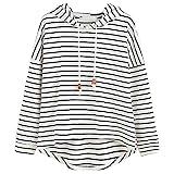 VJGOAL Mujer otoño Plus Size Moda Raya con Bolsillos Casual Sweatshirt Manga Larga Crop Jumper Pullover Tops (Blanco, S)