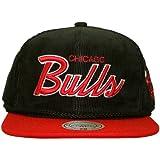 Mitchell & Ness–Gorra con visera plana para hombre Chicago Bulls Cord Script–Black