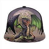 FONDSILVER Fantasy Dragon Mythical Monster Snapback Gorra de béisbol ajustable plana visera de algodón sombrero liso para deportes al aire libre hombres mujeres negro