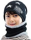 Petrunup Juego de Gorro Tipo Bufanda y Lazo de 2 Piezas para Niños, Cálidos Sombreros de Invierno Tejidos para Niñas Niños-Starblack
