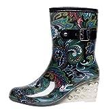 YWLINK Botas De Lluvia Mujer Impermeable Leopardo Zapatos con CuñA Botas De Nieve Estilo Punk Zapatos De Agua Transparentes Zapatos De Goma Moda CóModo TamañO Grande Tubo Medio Y Alto(Azul,40EU)