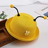 mlpnko Niños Sombrero de Paja Hombres y Mujeres Visera del bebé Sombrero de Playa niño bebé Sombrero para el Sol Marea Dibujos Animados pequeño Sombrero de Abeja código Amarillo