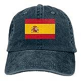 KLING Gorra de béisbol Unisex de Adultos con Lavado Vintage Gorra de papá Ajustable - Bandera de España Negra