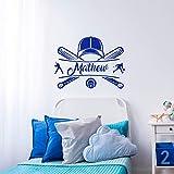hetingyue Etiqueta de Pared Personalizada Nombre Gorra de béisbol para Cualquier tamaño decoración de la habitación Vinilo Pared Arte Cartel Mural 42x57 cm