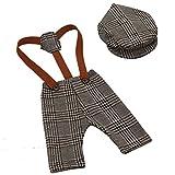 YeahiBaby Accesorios de fotografía de bebé recién nacido Pantalones de liguero de cuadros escoceses y trajes de traje de tapa en pico para niñas (marrón)
