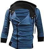 Jeansian Casual chaqueta con capucha Slim Fit Prendas con capucha Tops Deporte capa del cierre relámpago para Hombres US XS (Jacket Chest: 94-99cm) Blue
