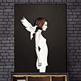 Geiqianjiumai Pigeon Canvas Art Girl Modern Abstract Wall Art Canvas Picture Home Decoración de la Pared Pop Art Graffiti Impresiones Pintura sin Marco 50x70cm