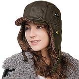 Fancet Gorra impermeable de invierno de imitación de cuero (piloto de soldado trampero aviador),Tapas del oído de la lana,Sombrero de esquí de caza [Marrón] [Grande 60CM]