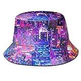 Sombrero de Pescador de la Ciudad de Cyberpunk Sombreros de Copa Transpirables de Tapa Plana Sombrero de Sol de Moda Unisex Verano