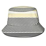 Aqua Amarillo Gris Flecha Reversible Espiga Sombrero de Pescador Sombrero de Copa Plano Transpirable Sombreros Unisex Moda Sombrero para el Sol Verano