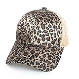 KUANGQIAN Punto Leopardo Gorra de béisbol señoras del Verano de Malla Cola de Caballo Ajuste de Rebote Gorros (Color : 3)