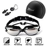 XQ7 Gafas de natación, incluir Enchufe de oído + Gorro de baño + Clip de Nariz, Protección UV y Recubrimiento Anti Niebla Lente, Ajustable, para Hombres Mujeres, Adultos, Niños de la Juventud, Niño