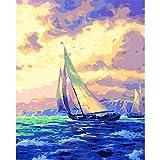 yaonuli Pintura Digital DIY mar Blanco Vela Paisaje Lienzo decoración de la Boda Regalo 40x50cm Sin Marco