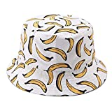 Hpybest - Sombrero de cubeta para Hombre y Mujer, con Estampado de plátano, Estilo Hip Hop, Gorros, Pesca, Pescador Blanco Blanco Talla única