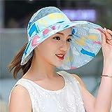 Sun Hat/Sombrero para el Sol Mujer, Sombrero para el Sol, Sombrero para el Sol, Cubierta para el Sol, Cara Anti-Violeta, línea Plegable, Sombrero de Playa Grande, Azule